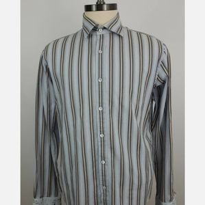Ted Baker Large Blue and Beige Striped Long Sleeve